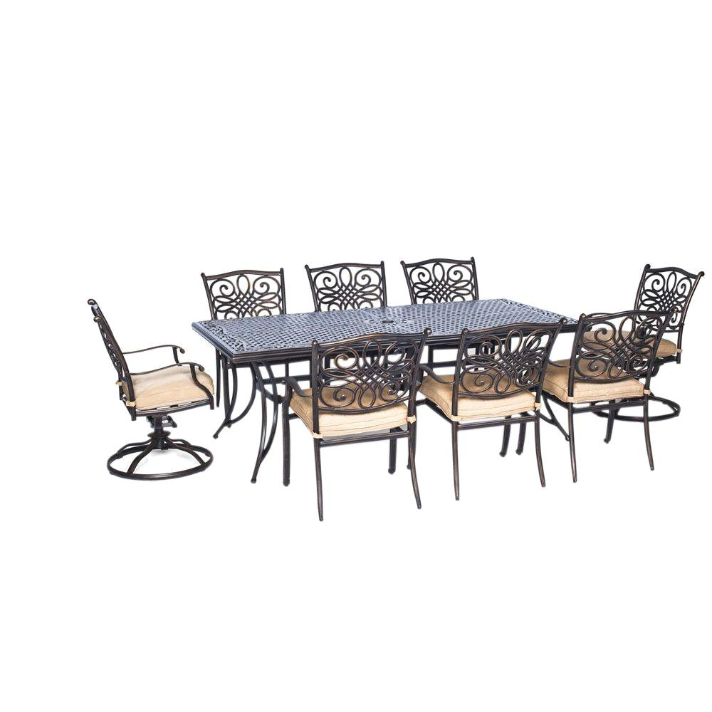 Hanover Traditions 9 Pc Aluminium Rectangular Patio Dining Set With Six  Dining Chairs, Two