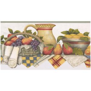 Kitchen Shelf Bowl of Strawberries Fruit Basket Jug Pears Lemons Scalloped  Vintage Prepasted Wallpaper Border