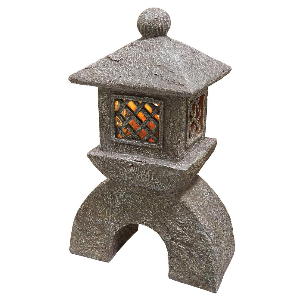 Design Toscano 16 5 In H Japanese Pagoda Illuminated Lantern Statue Al58699 The Home Depot
