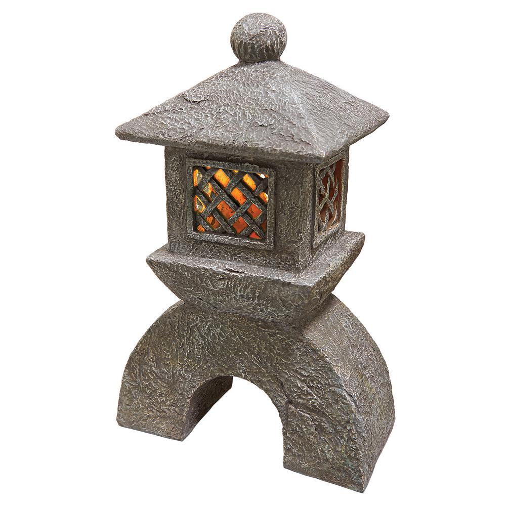 16.5 in. H Japanese Pagoda Illuminated Lantern Statue