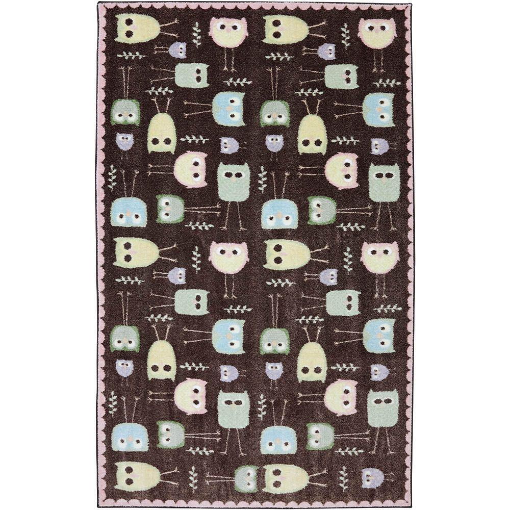 American Rug Craftsmen Baby Owls Brown 3 ft. 4 in. x 5 ft. Accent Rug