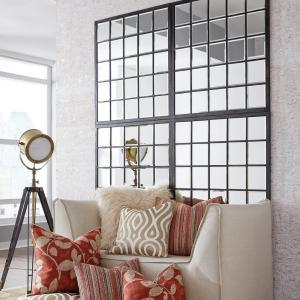 The Howard Elliott Collection 38 inch x 34 inch Window Pane Framed Mirror by The Howard Elliott Collection