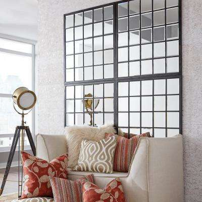 38 in. x 34 in. Window Pane Framed Mirror