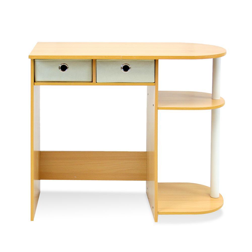 Furinno Go Green Beech Computer Desk With Bin Drawer