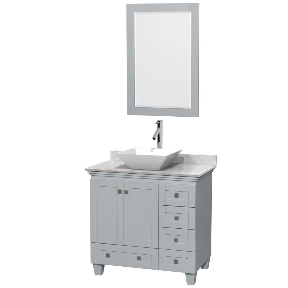 Vanity Gray Marble Vanity Top White Basin Mirror