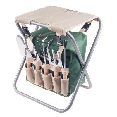 16 in. Folding Garden Stool with Garden Bag and Tools