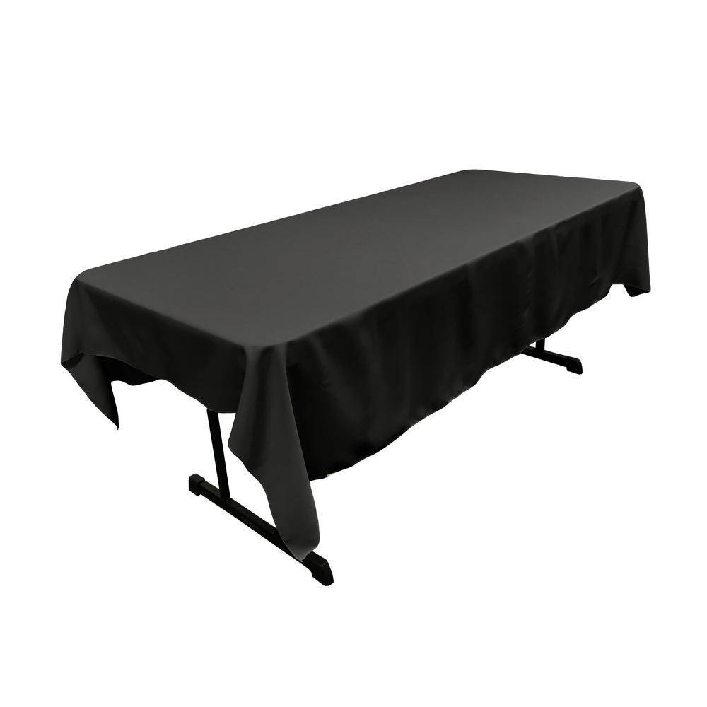 Polyester Poplin 60 in. x 84 in. Black Rectangular Tablecloth
