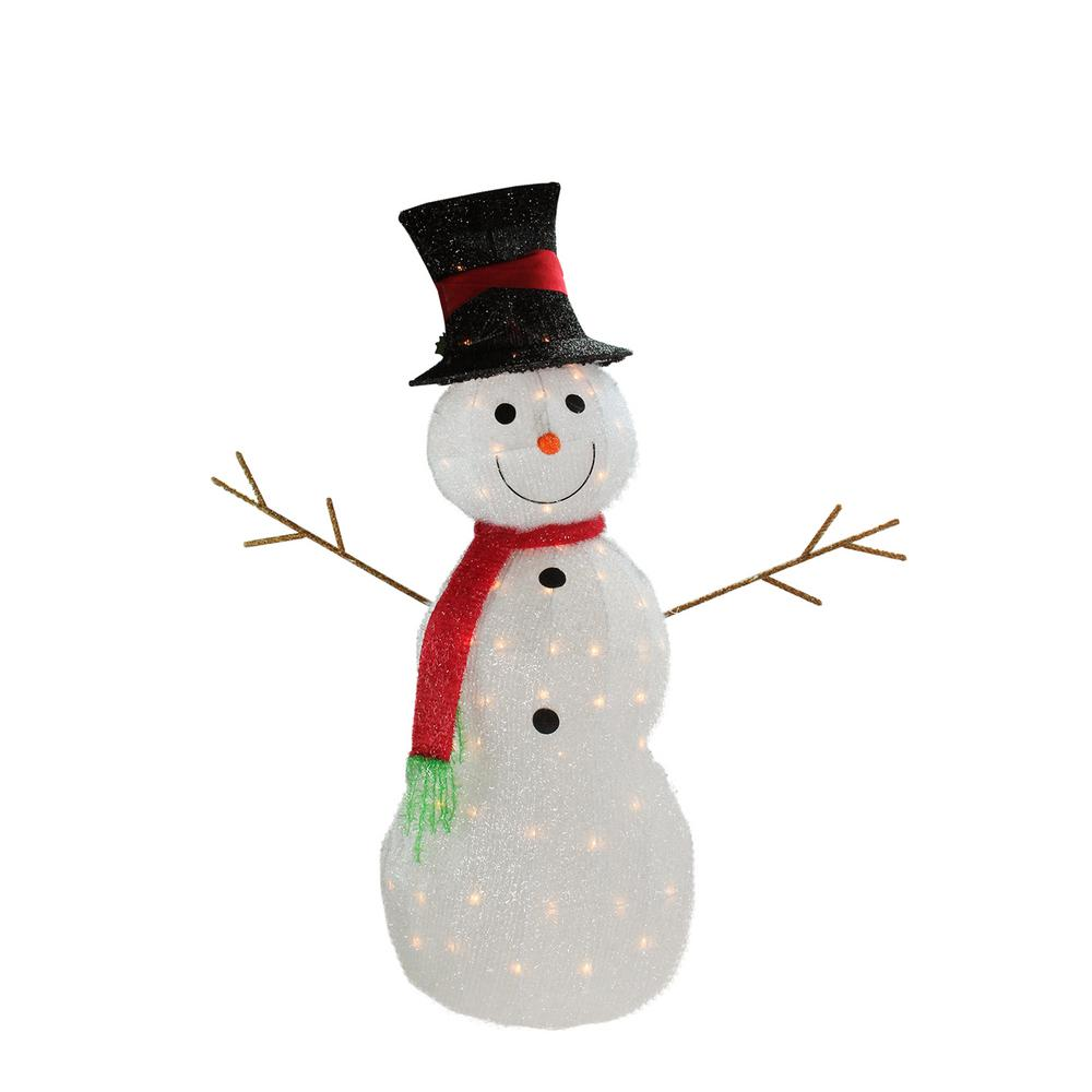 48 in. Christmas Lighted 3D Tinsel Snowman with Top Hat Outdoor