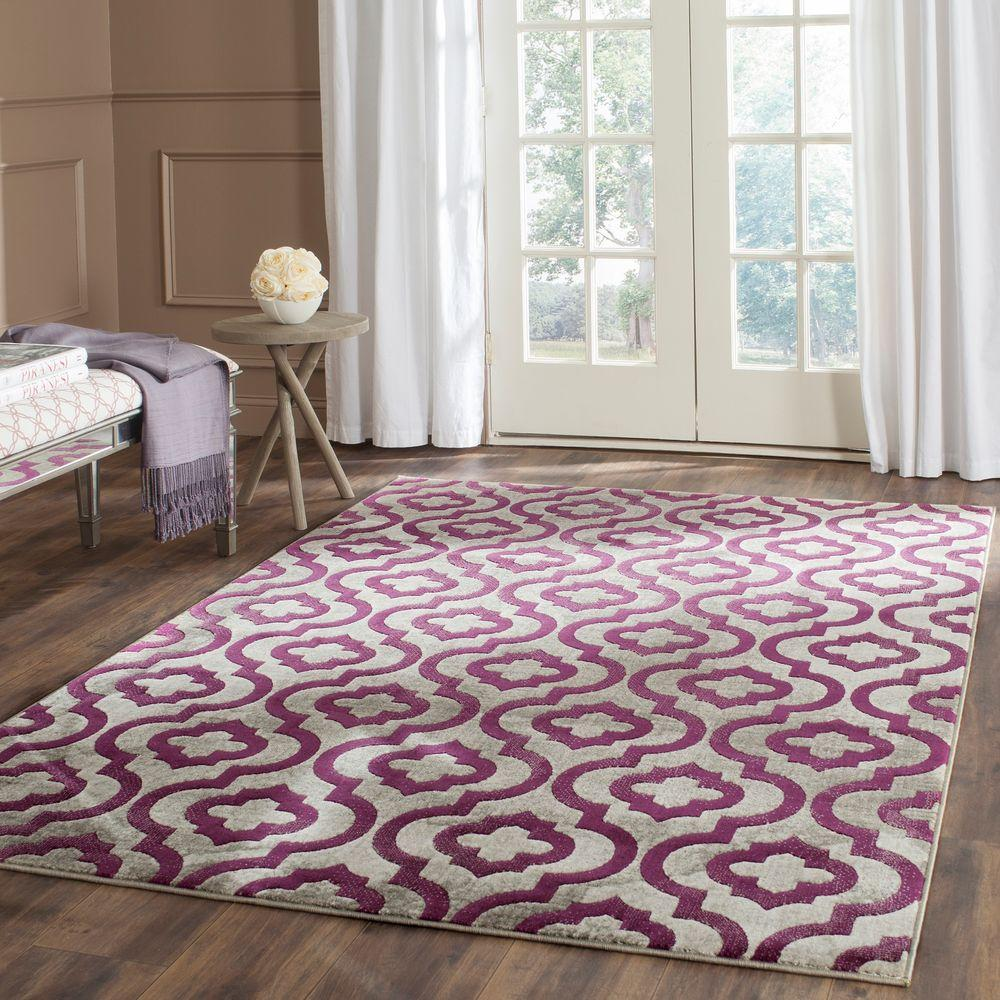 Safavieh Porcello Light Grey Purple 6 Ft X 9 Ft Area Rug