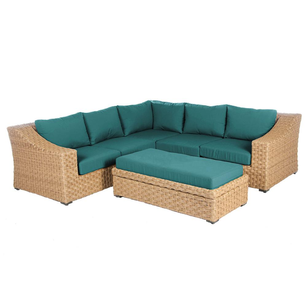 Elizabeth 6-Piece Wicker Patio Sectional Seating Set with Spectrum Peacock