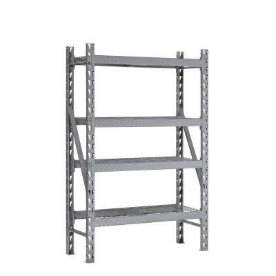 72 in. H x 53 in. W x 18 in. D 4-Shelf Steel Tread Plate Commercial Shelving Unit in Silver