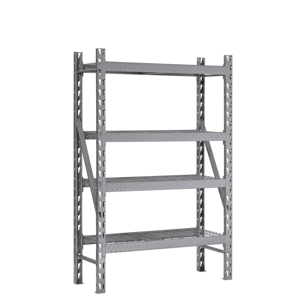 muscle rack 72 in h x 53 in w x 18 in d 4 shelf steel tread plate commercial shelving unit in. Black Bedroom Furniture Sets. Home Design Ideas