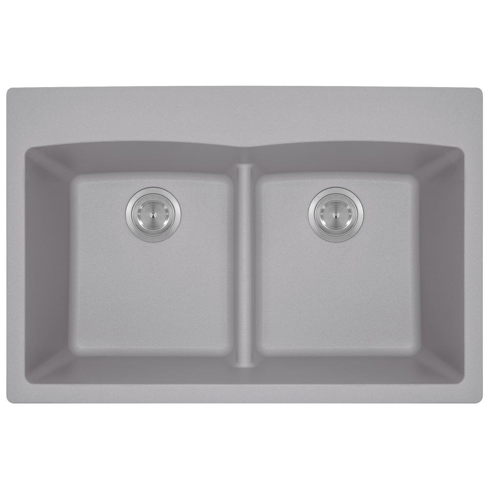 Drop-in Granite Composite 33 in. 5-Hole Equal Double Bowl Kitchen Sink