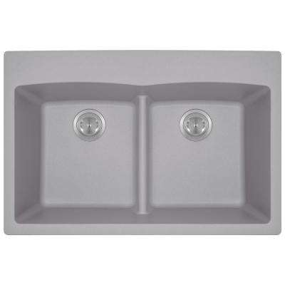 Drop-in Granite Composite 33 in. 5-Hole Equal Double Bowl Kitchen Sink in Silver