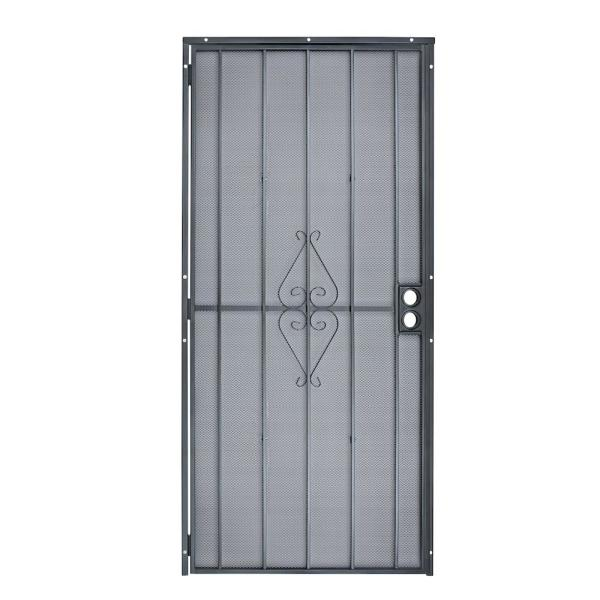 36 in. x 80 in. 808 Series Protector Black Surface Mount Steel Security Door with Expanded Steel Screen