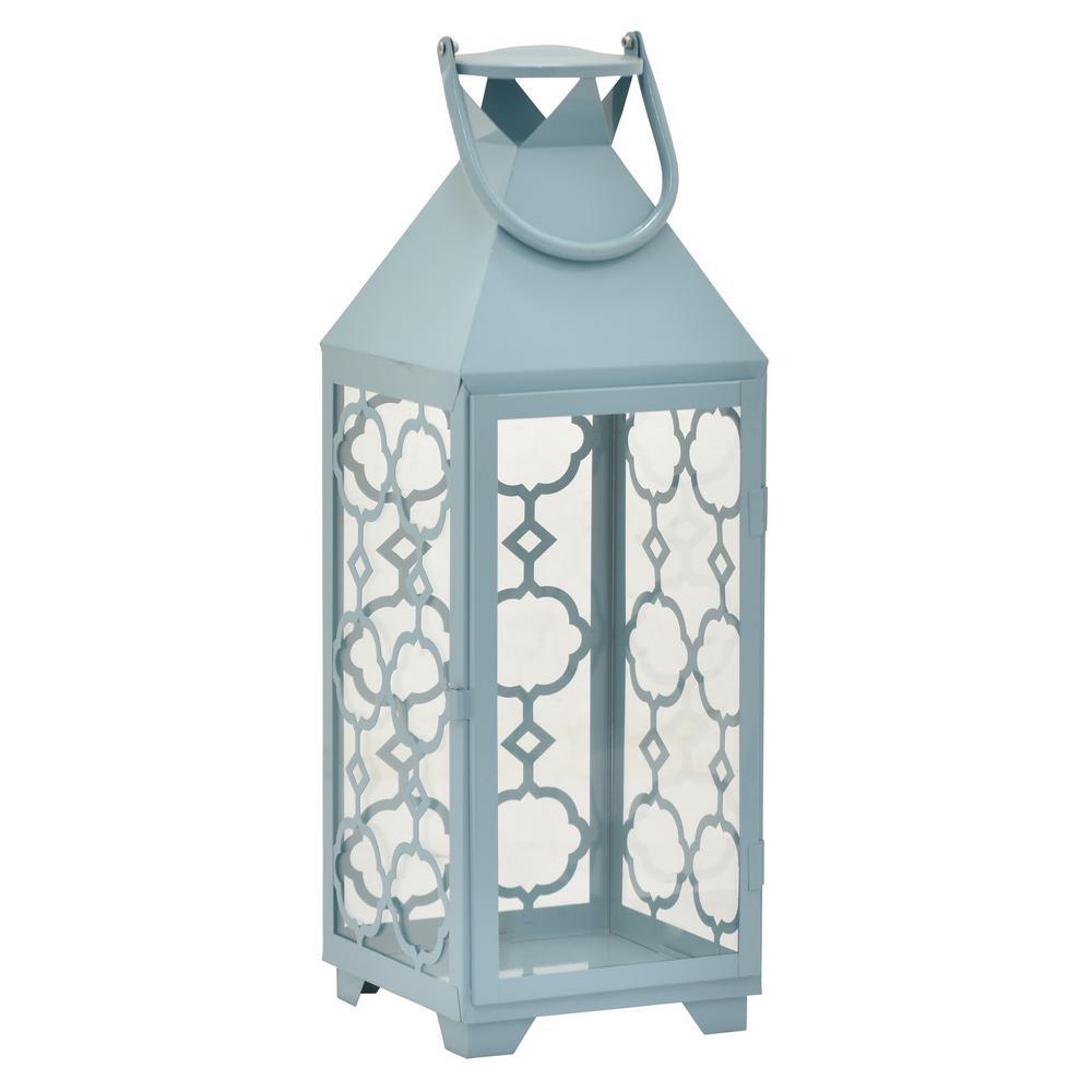 17 in. Blue Metal Decorative Lantern