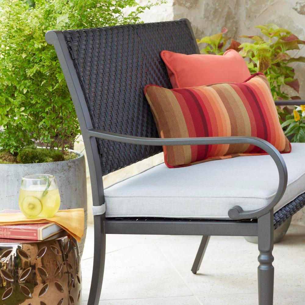 Super Hampton Bay Commack Brown Wicker Outdoor Bench Creativecarmelina Interior Chair Design Creativecarmelinacom