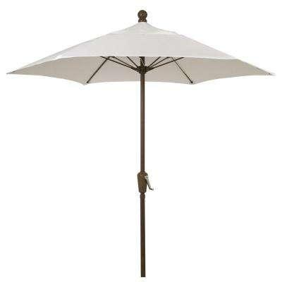 11 ft. Oct Patio Lucaya Umbrella 8 Rib Pulley Pin Bright Aluminum in Natural Marine Grade Canopy
