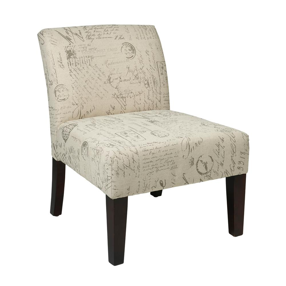 OSP Home Furnishings Laguna Script Chair The Laguna Series Chair adds sophistication to any room. The chairs are covered in high performance easy care fabrics with foam cushions. Solid wood legs for durability complete the design. Color: SCRIPT.