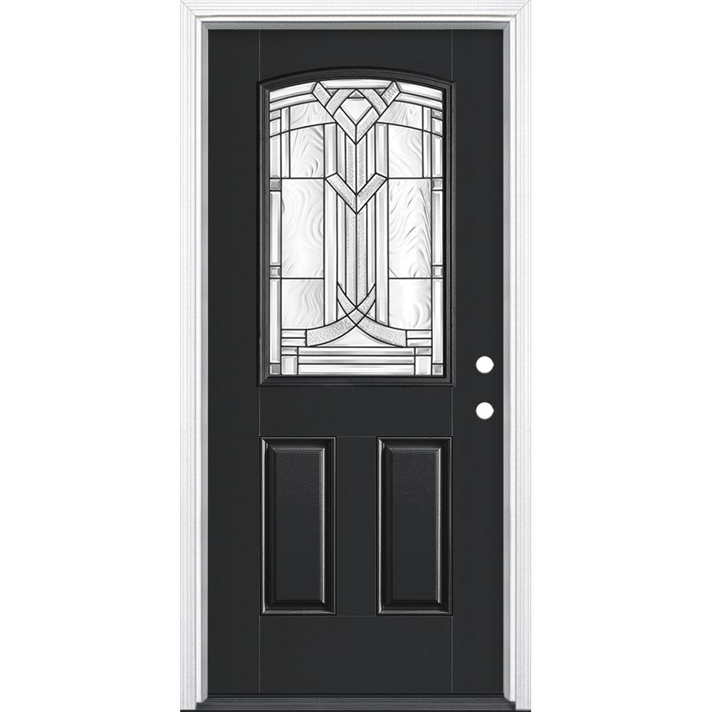 Masonite 36 in. x 80 in. Chatham Camber Top Half Lite Left Hand Inswing Painted Smooth Fiberglass Prehung Front Door w/ Brickmold