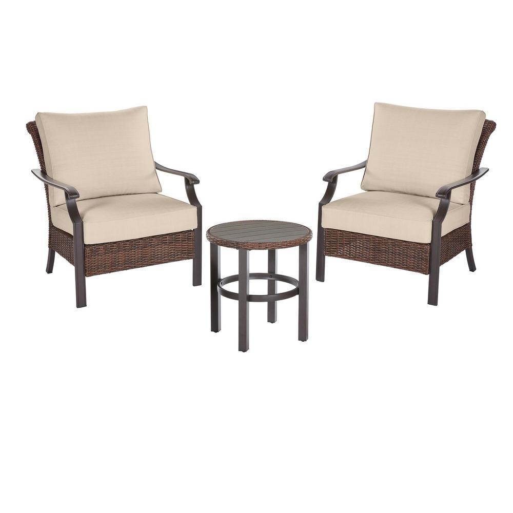Harper Creek 3-Piece Brown Steel Outdoor Patio Chair Set with Sunbrella Beige Tan Cushions