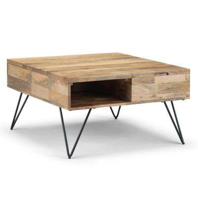 Hunter Solid Mango Wood and Metal 32 in. Natural Wide Square Industrial Contemporary Lift Top Coffee Table