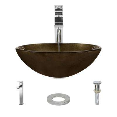Glass Vessel Sink in Regal Bronze and Earth Tones with R9-7003 Faucet and Pop-Up Drain in Chrome