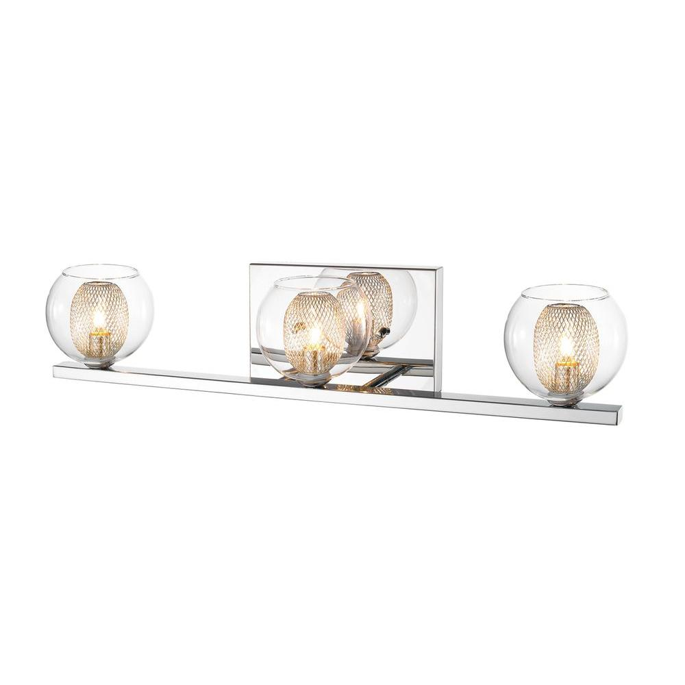 Peak 3-Light Chrome Bath Vanity Light