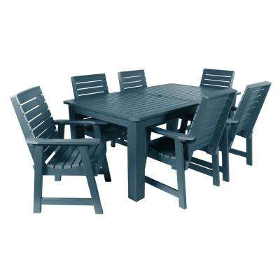 Weatherly Nantucket Blue 7-Piece Recycled Plastic Rectangular Outdoor Dining Set