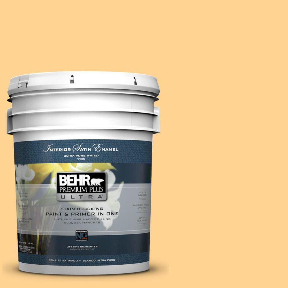 5 gal. #310B-4 Cornmeal Satin Enamel Interior Paint and Primer in