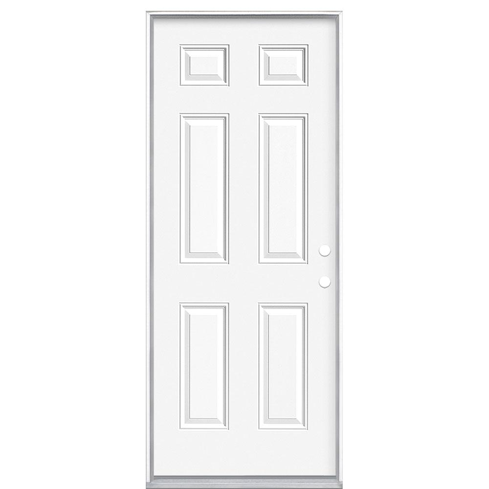 Masonite 32 In X 80 In Fire Rated Left Hand Inswing 6 Panel Steel Fire Prehung Commercial Exterior Door With Wood Frame 94211 The Home Depot