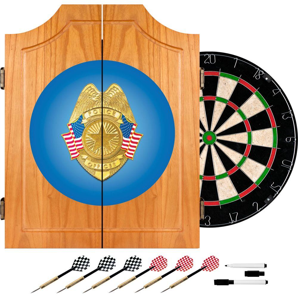 Police Officer Wood Finish Dart Cabinet Set