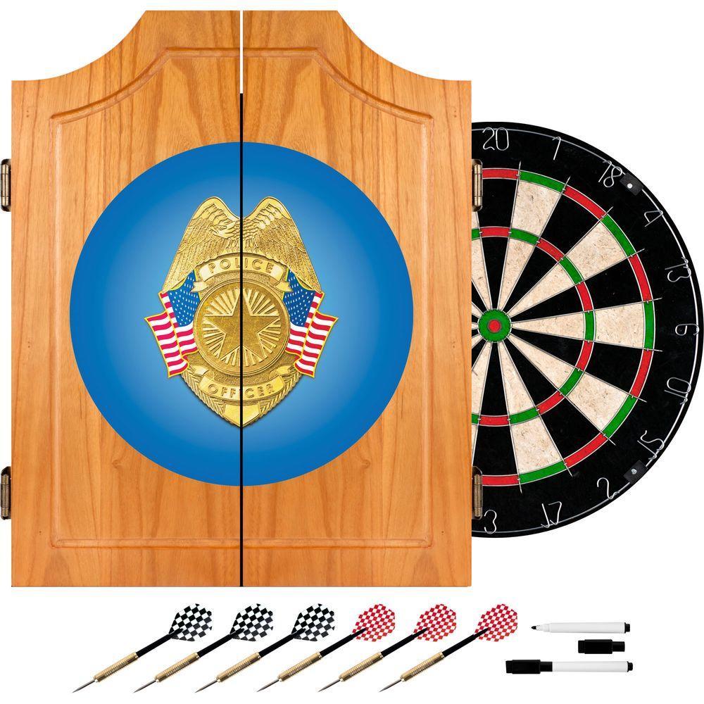 Police Officer Wood Finish Dart Cabinet Set