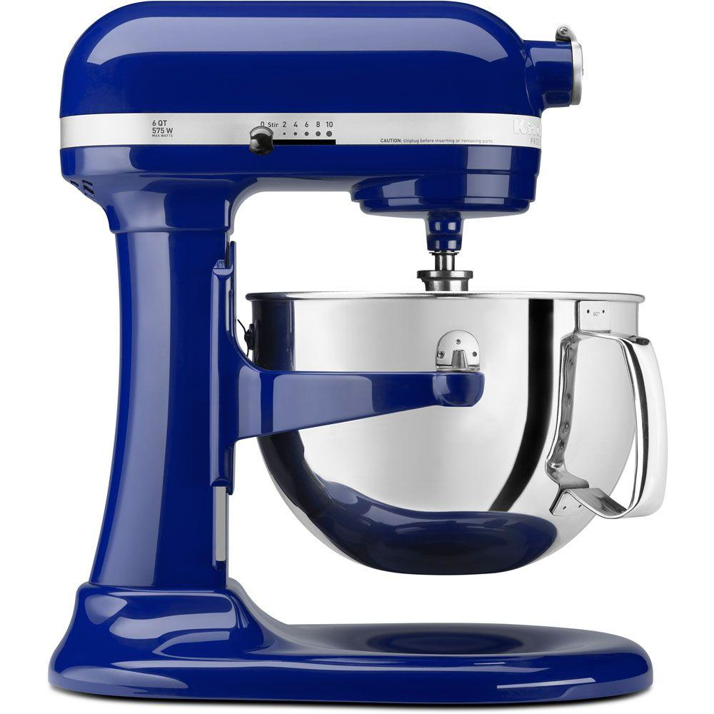 Professional 600 Series 6 Qt 10 Speed Cobalt Blue Stand Mixer With Flat Beater Wire Whip And Dough Hook Attachments