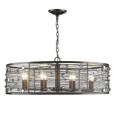 Bijoux 8-Light Brushed Etruscan Bronze Chandelier with Light Shade