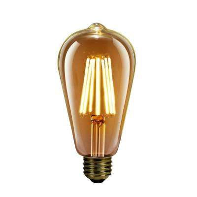 60-Watt Equivalent ST19 Dimmable LED Amber Glass Vintage Edison Light Bulb With Vertical Filament Soft White
