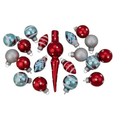 0.75 in. to 5.25 in. Red Baby Blue and Silver White Frosted Glass Christmas Ornament and Tree Topper Set (19-Count)