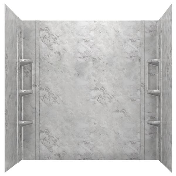Ovation 32 in. x 60 in. x 59 in. 5-Piece Glue-Up Alcove Bath Wall Set in Silver Celestial