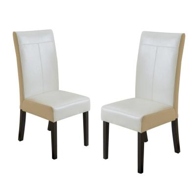 Lissa Ivory PU T-Stitch Dining Chairs (Set of 2)