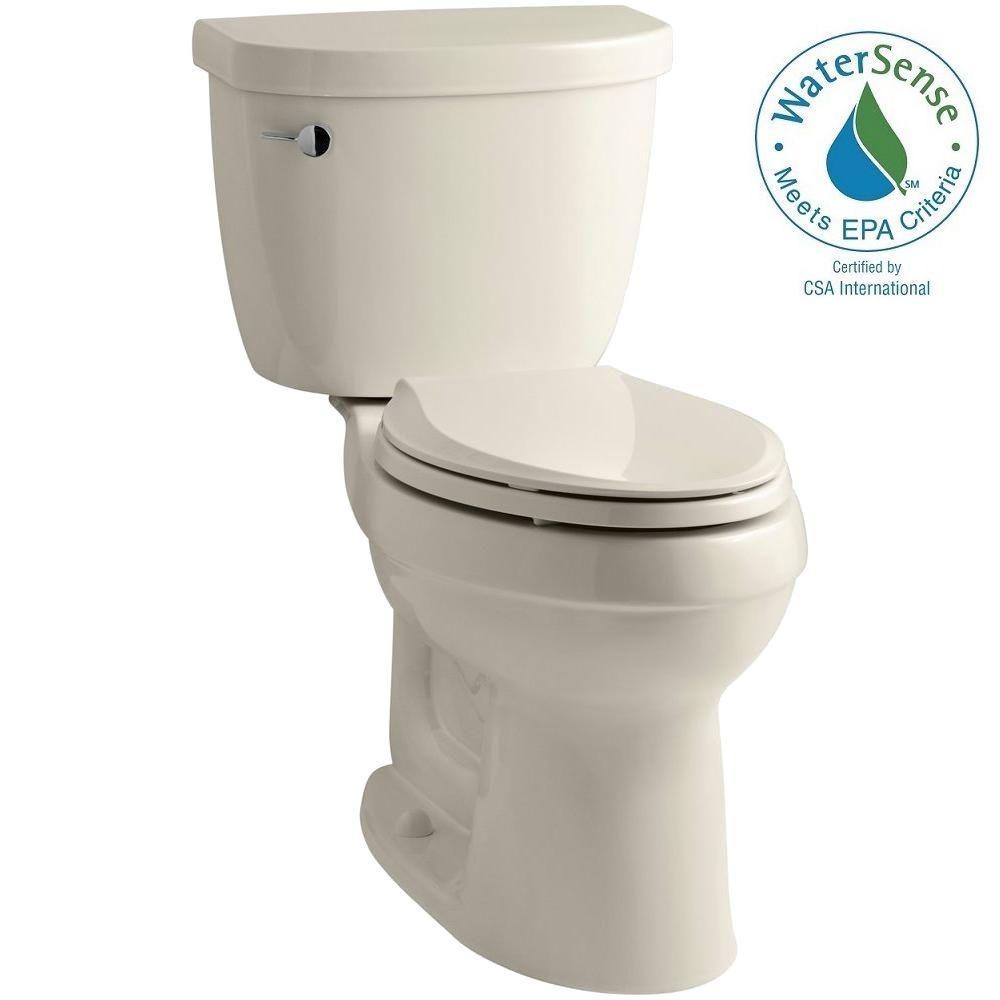 Cimarron 2-piece 1.28 GPF High Efficiency Elongated Toilet with AquaPiston Flushing Technology in Almond