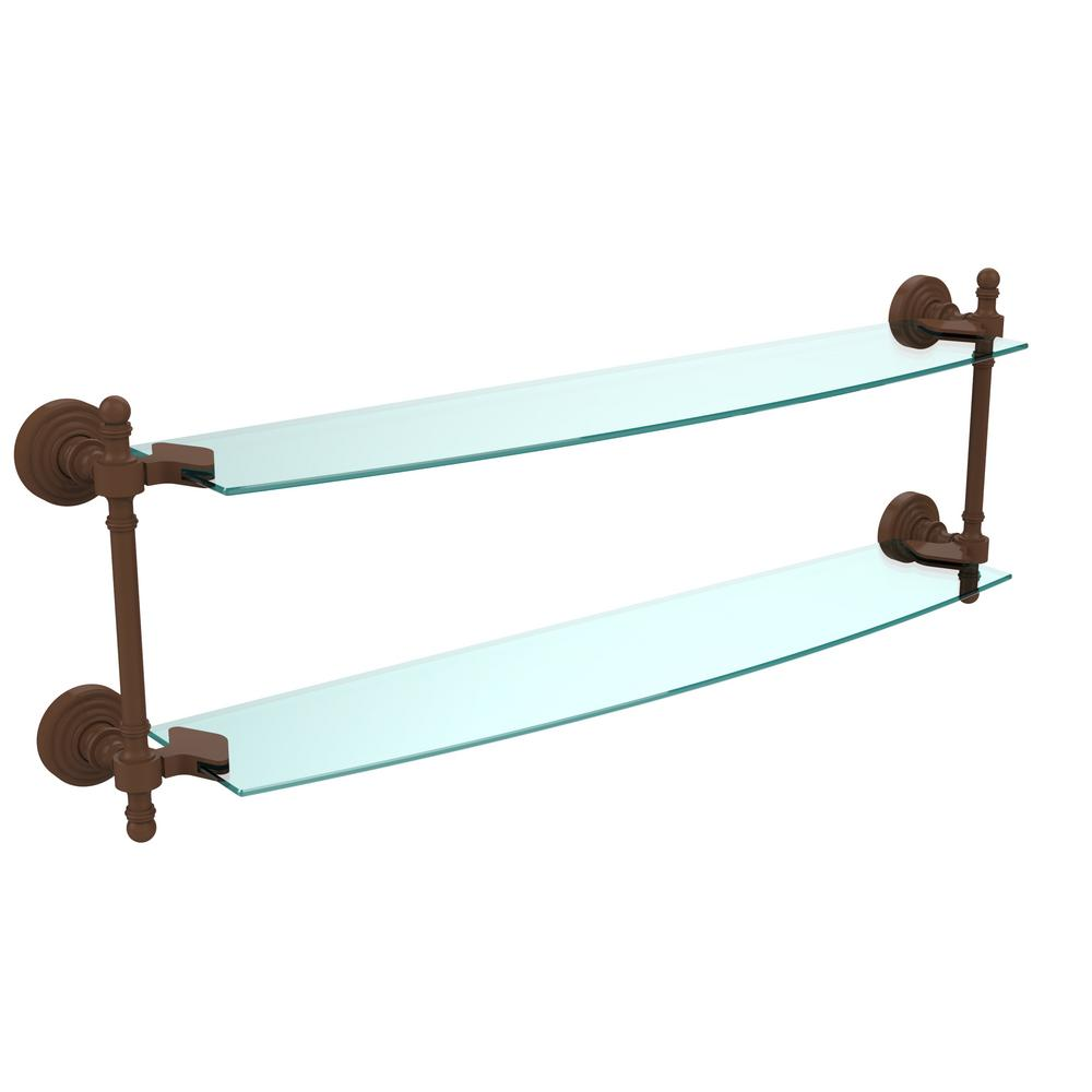 Retro Wave Collection 24 in. Two Tiered Glass Shelf in Antique