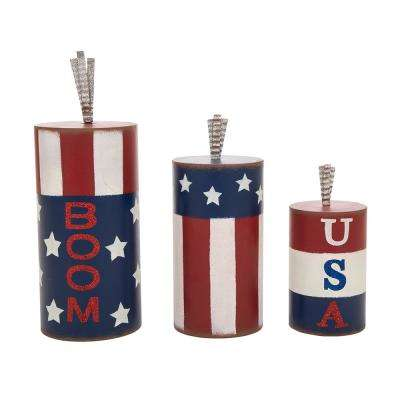 16.54 in. H S/3 Iron Firecracker Table Decor