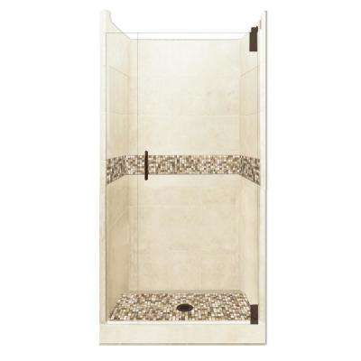 Roma Grand Hinged 42 in. x 42 in. x 80 in. Center Drain Alcove Shower Kit in Desert Sand and Old Bronze Hardware