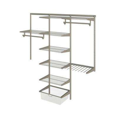 Closet Culture 16 in. x 72 in. W x 78 in. H Wire Closet System with 7 Champagne Nickel Shelves