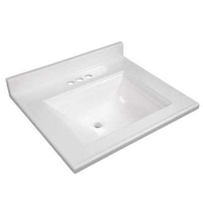 Camilla 25 in. Cultured Marble Vanity Top in Solid White with Basin
