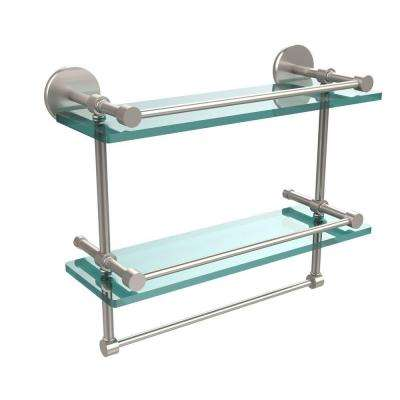 16 in. L  x 12 in. H  x 5 in. W 2-Tier Gallery Clear Glass Bathroom Shelf with Towel Bar in Satin Nickel