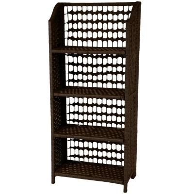4-Shelf Mocha Natural Fiber Shelving Trunk