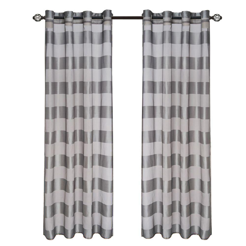 Grey Sofia Grommet Curtain Panel 95 In Length