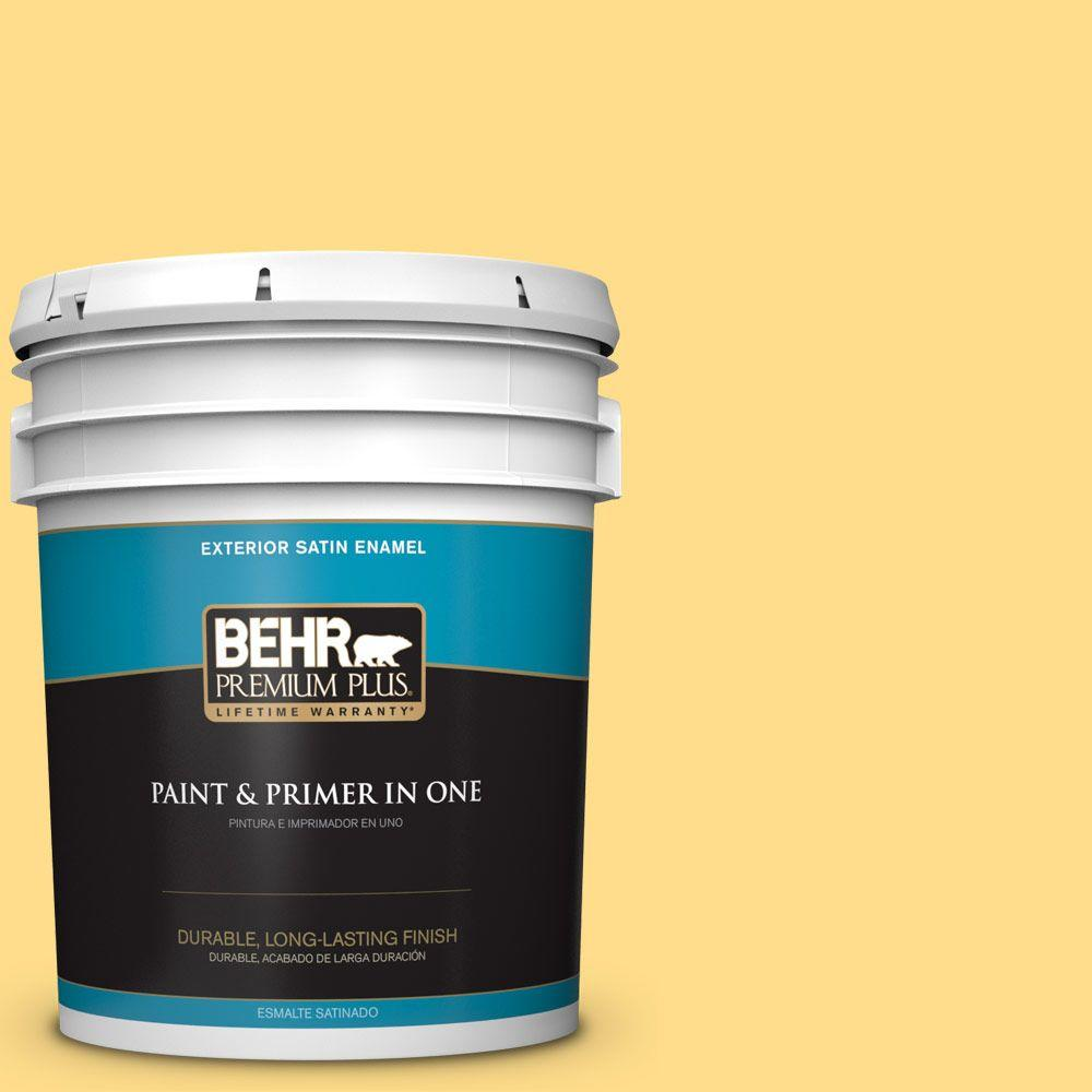 BEHR Premium Plus 5-gal. #330B-5 Yellow Corn Satin Enamel Exterior Paint
