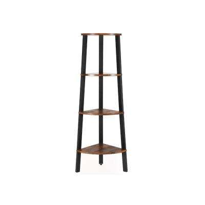 Brown and Black Four Tier Ladder Style Wooden Corner Shelf with Iron Framework